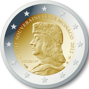2 Euro herdenkingsmunt Monaco 2012 500e verjaardag van de stichting van de soevereiniteit van Monaco door Lucien 1er Grimaldi