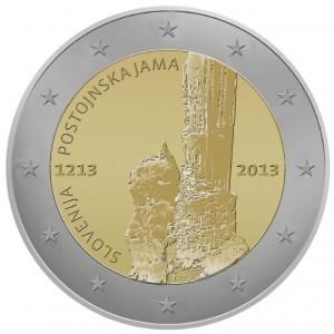 2 Euro Slovenie 2013 800e verjaardag van het eerste bezoek aan de grotten van Postojna 3e plaats