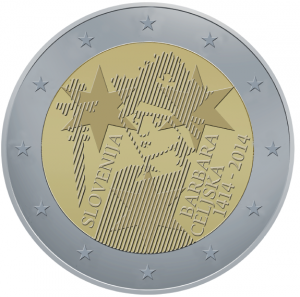 2 Euro herdenkingsmunt slowenie-2014 600e verjaardag van de kroning van Barbara van Celje